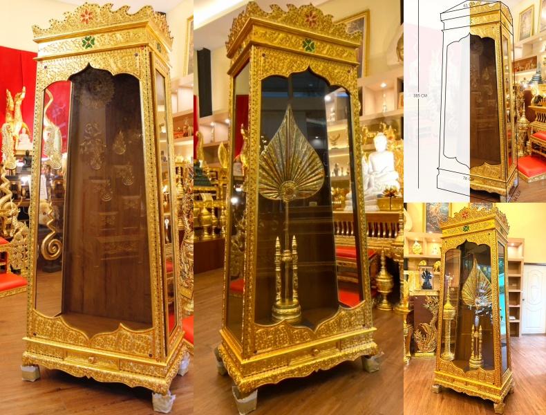 ตู้พัดยศ หรือ ตู้ใส่พัดยศ แบบไม้สัก ทั้งหลัง และลงรักปิดทอง ราคา 10800 บาท